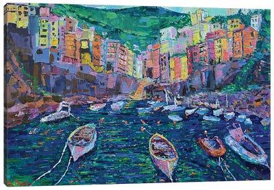 Fishing boats of Riomaggiore Canvas Art Print