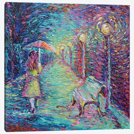 Girl with Pink Umbrella Canvas Print #DZB16} by Adriana Dziuba Canvas Wall Art