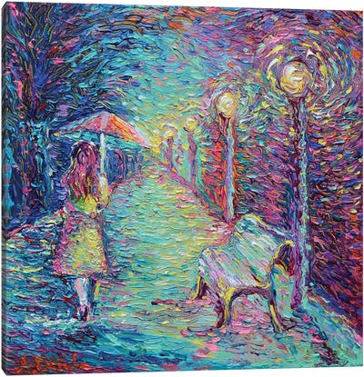 Girl with Pink Umbrella Canvas Art Print