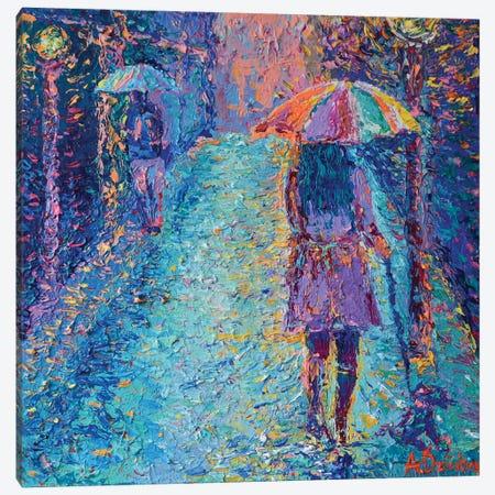 Girl with Rainbow Umbrella Canvas Print #DZB17} by Adriana Dziuba Canvas Artwork