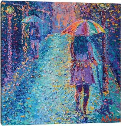 Girl with Rainbow Umbrella Canvas Art Print