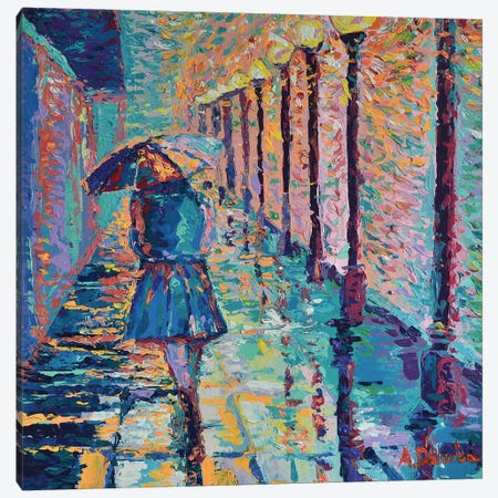 Girl with Umbrella Canvas Print #DZB18} by Adriana Dziuba Canvas Print