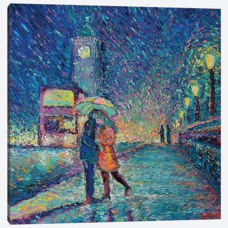 Lovers in Rainy London Canvas Print #DZB19} by Adriana Dziuba Art Print