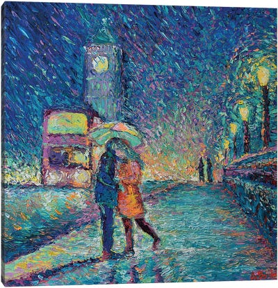 Lovers in Rainy London Canvas Art Print