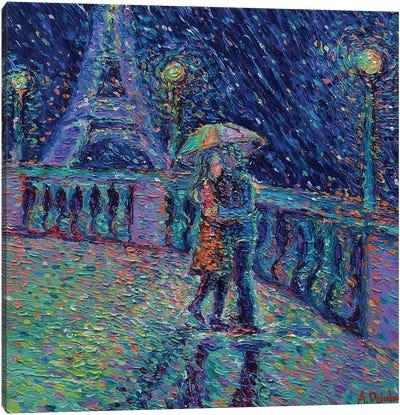 Lovers in Rainy Paris Canvas Art Print