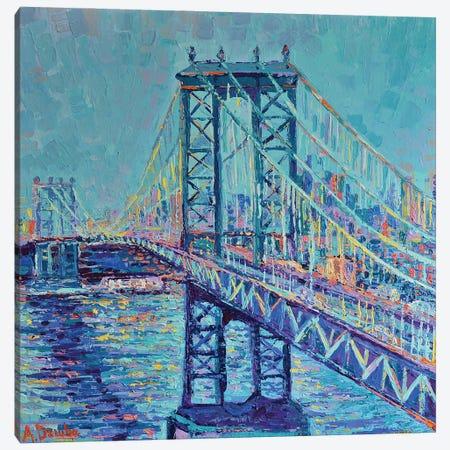 Manhattan Bridge Canvas Print #DZB22} by Adriana Dziuba Canvas Art