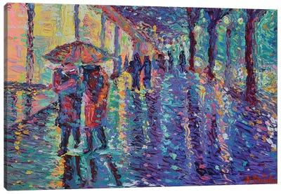 Rainy Night at The City Canvas Art Print