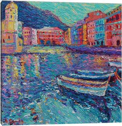 Sunset in Port of Vernazza Canvas Art Print