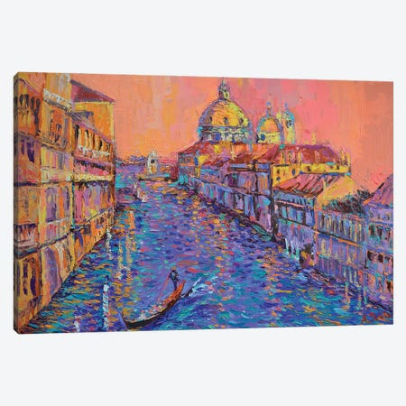Sunset over the Grand Canal in Venice Canvas Print #DZB41} by Adriana Dziuba Canvas Wall Art