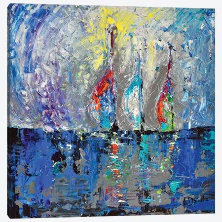 Three Sailboats Canvas Print #DZB43} by Adriana Dziuba Canvas Art