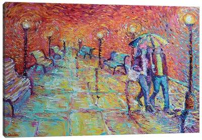 Walking In Autumn Rain Canvas Art Print