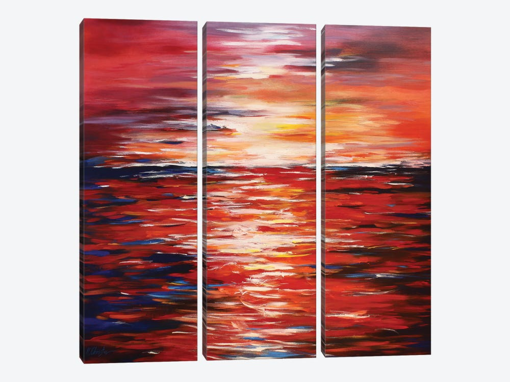 Abstract Landscape In Red by Radiana Christova 3-piece Canvas Art