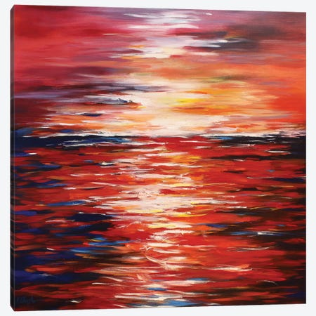 Abstract Landscape In Red Canvas Print #DZH8} by Radiana Christova Canvas Art