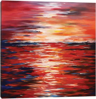Abstract Landscape In Red Canvas Art Print