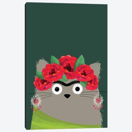 Cat Frida Canvas Print #DZL11} by Doozal Canvas Print