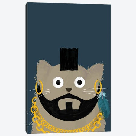 Cat Mr T Canvas Print #DZL16} by Doozal Canvas Wall Art