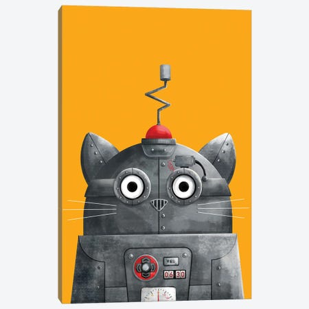 Cat Robot C.A.T Canvas Print #DZL19} by Doozal Canvas Art Print