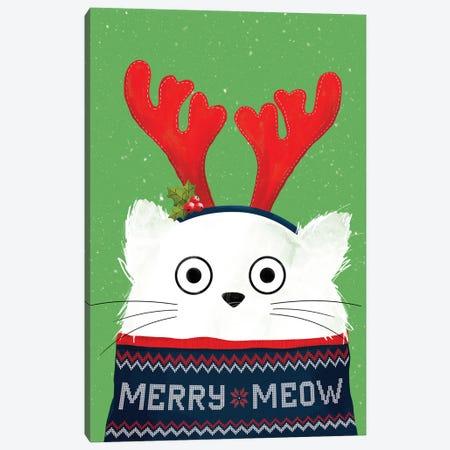Christmas Reindeer Cat Canvas Print #DZL24} by Doozal Canvas Print