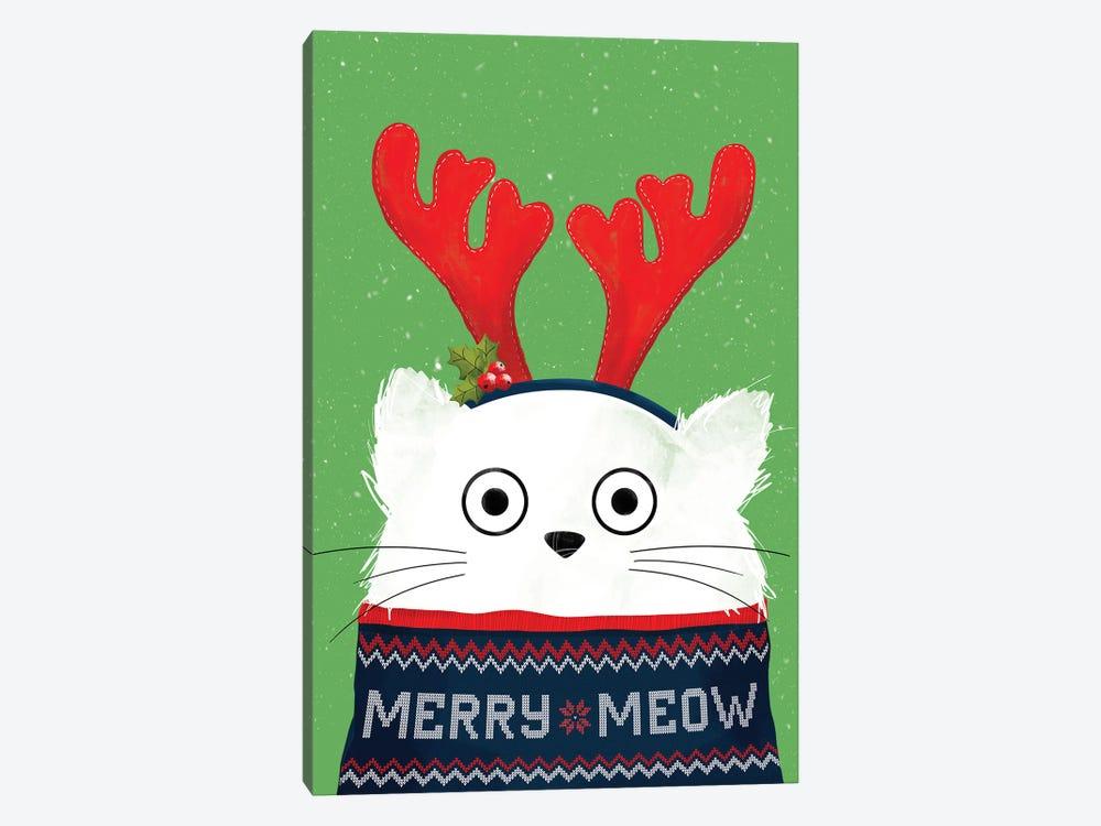 Christmas Reindeer Cat by Doozal 1-piece Canvas Artwork