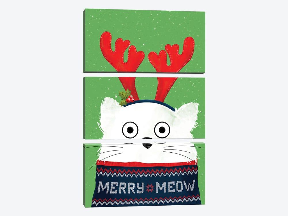 Christmas Reindeer Cat by Doozal 3-piece Canvas Art