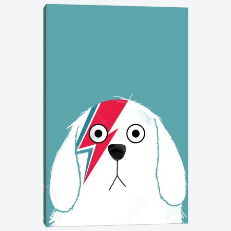 Dog Bowie - White Version Canvas Print #DZL26} by Doozal Canvas Print