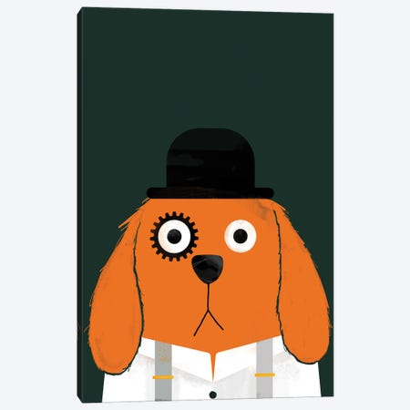 Dog Clockwork Canvas Print #DZL27} by Doozal Art Print
