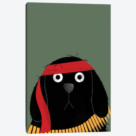 Dog Rambo Canvas Print #DZL29} by Doozal Canvas Art