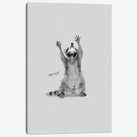 Happy Hallelujah Racoon Canvas Print #DZL32} by Doozal Art Print