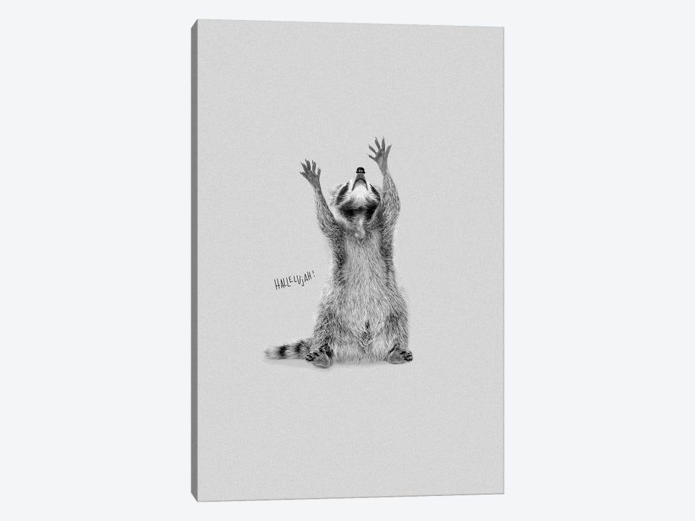 Happy Hallelujah Racoon by Doozal 1-piece Art Print