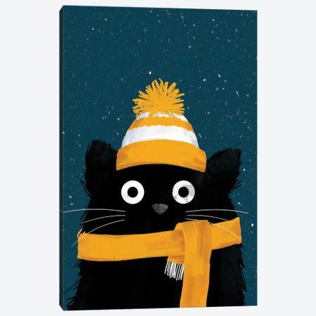 Snowy Winter Day Cat Canvas Print #DZL39} by Doozal Canvas Art Print