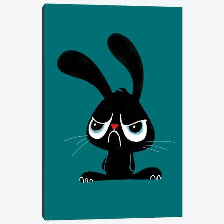 Cute Grumpy Bunny Canvas Print #DZL43} by Doozal Canvas Art