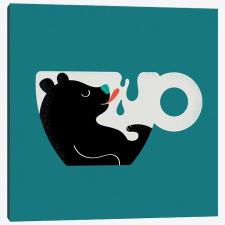 Lazy Bear Enjoying Milk Canvas Print #DZL44} by Doozal Art Print