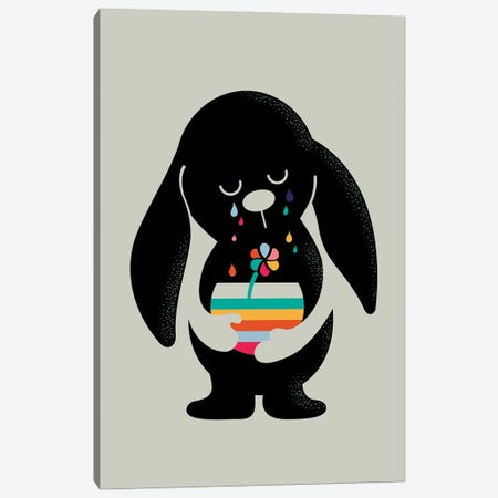 Rainbow Tears Bunny Canvas Print #DZL46} by Doozal Canvas Print