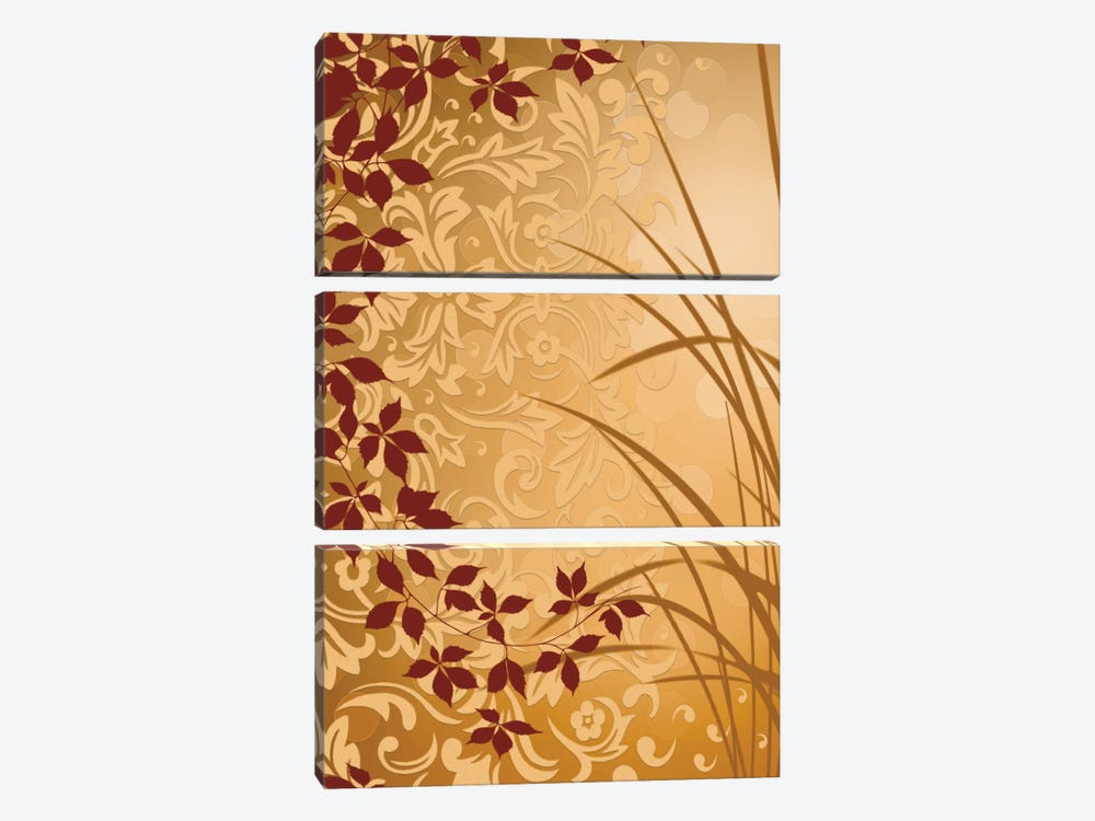 Golden Flourish II by Edward Aparicio 3-piece Art Print