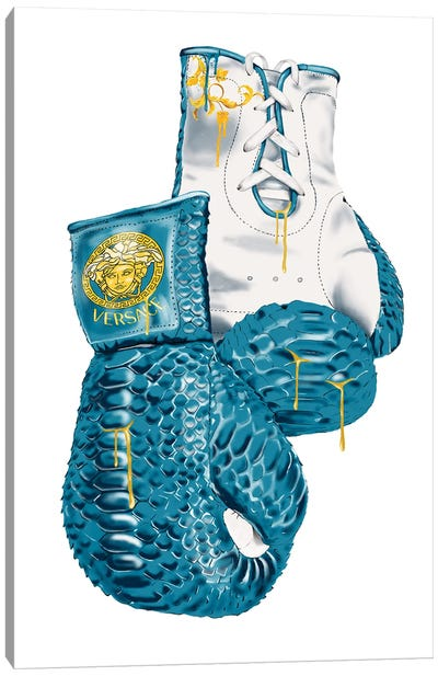 Versace Eros Blue Boxing Gloves Canvas Art Print