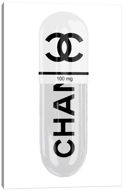 Chanel White 100MG Canvas Art Print