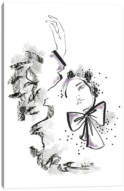 Sketched Bows Canvas Art Print