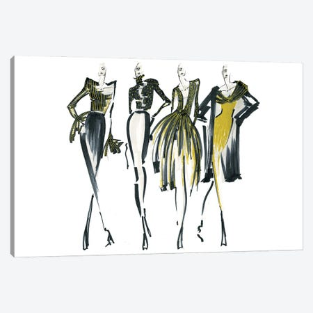 Golden Lineup I Canvas Print #EAZ43} by Elly Azizian Canvas Art