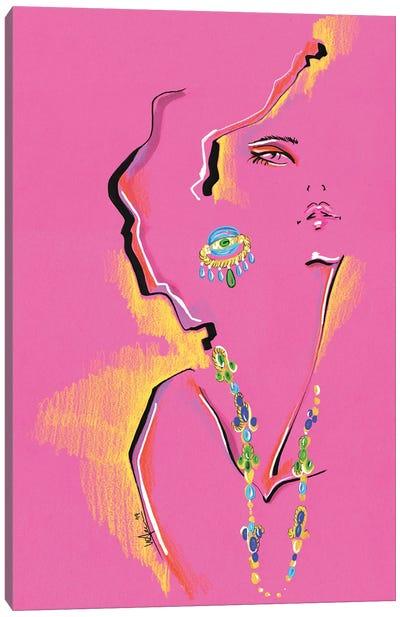 Magenta Portrait Collage Canvas Art Print