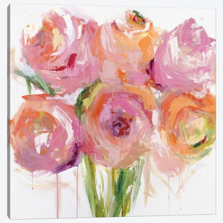 Pink Peonies Canvas Print #EBE2} by Emma Bell Canvas Art
