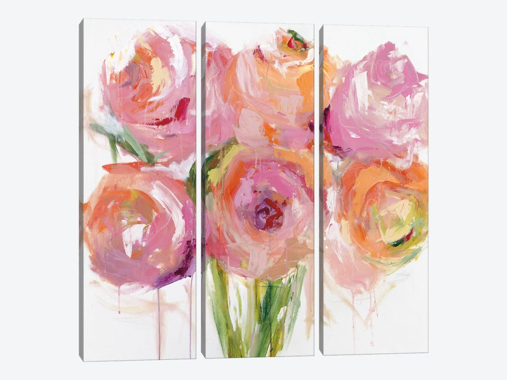 Pink Peonies by Emma Bell 3-piece Art Print
