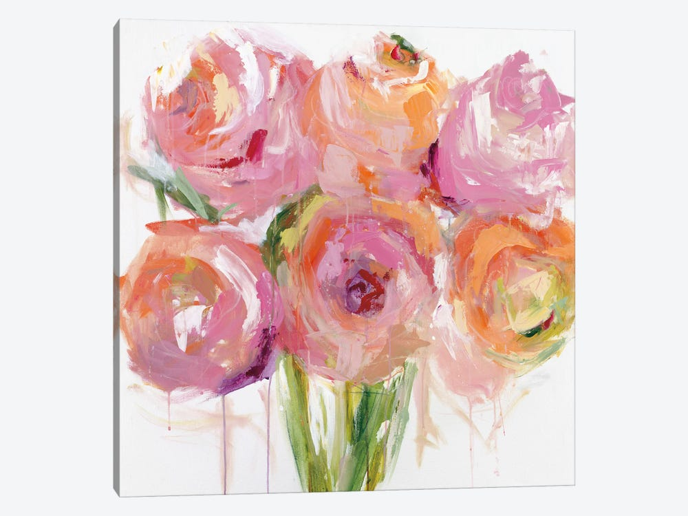 Pink Peonies by Emma Bell 1-piece Canvas Art Print