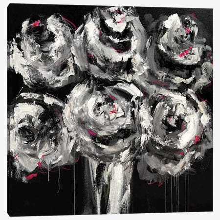 White Roses Canvas Print #EBE4} by Emma Bell Canvas Art Print