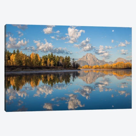 USA, Wyoming, Grand Teton National Park, Mt. Moran along the Snake River in autumn I Canvas Print #EBO4} by Elizabeth Boehm Canvas Print