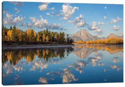 USA, Wyoming, Grand Teton National Park, Mt. Moran along the Snake River in autumn I Canvas Art Print