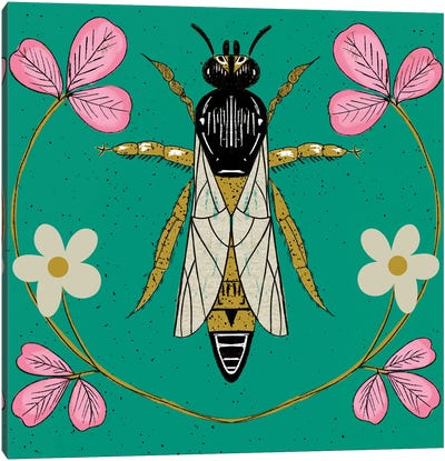 Bee Floral Canvas Art Print