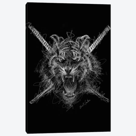 Samurai Tiger Canvas Print #ECE47} by Erick Centeno Canvas Print