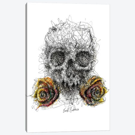 Skull & Roses Canvas Print #ECE50} by Erick Centeno Canvas Print