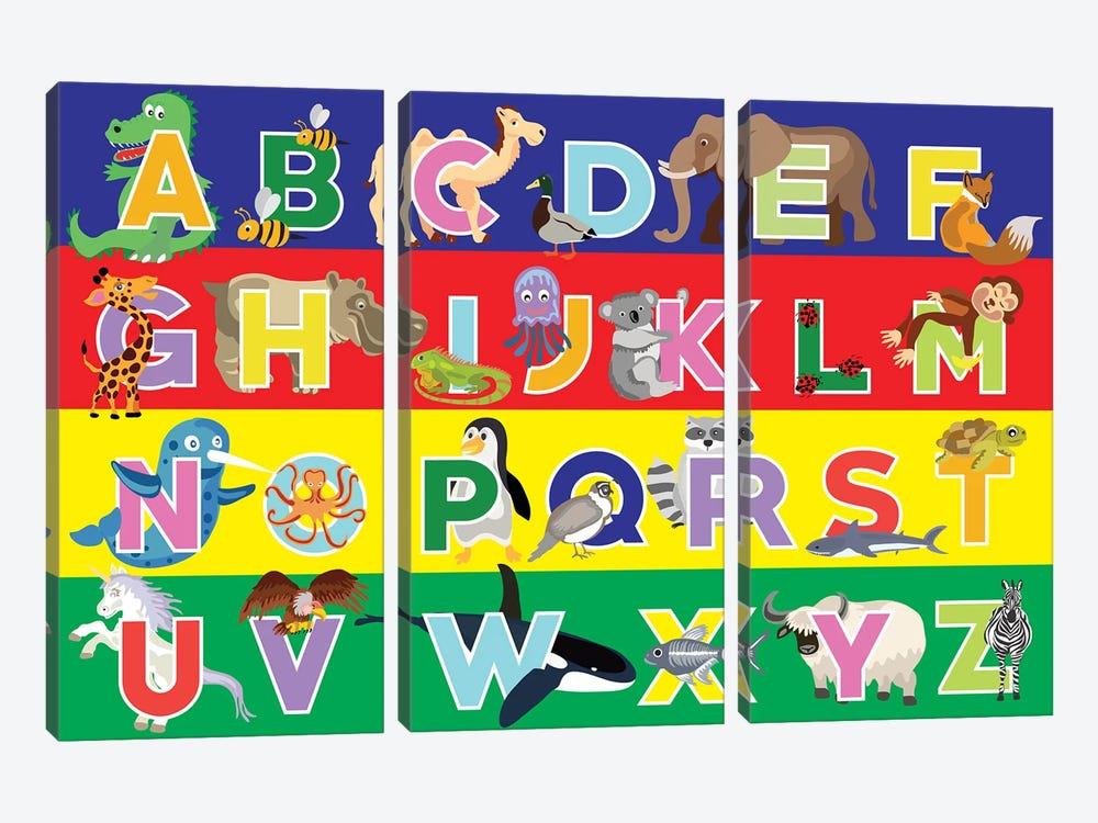 Alphabet Puzzle by Erin Clark 3-piece Canvas Art Print