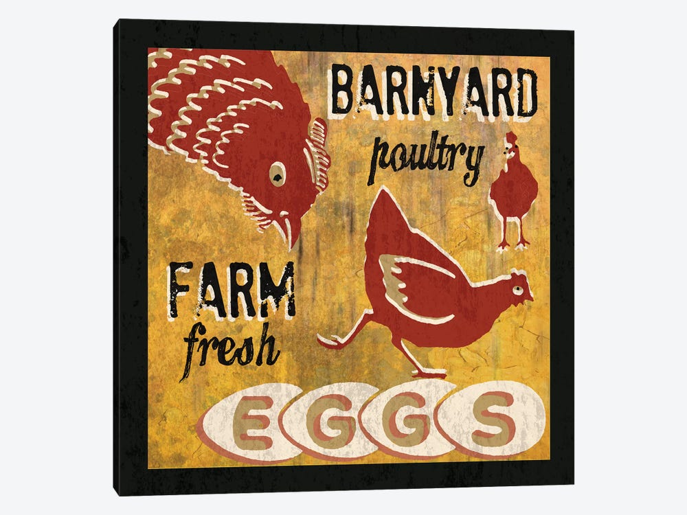 Barnyard Poultry by Erin Clark 1-piece Canvas Artwork